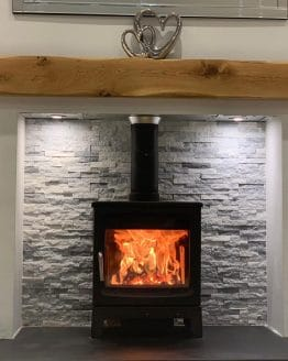 Oak Beam Mantle Above Log Burner Fireplace Floating Shelf