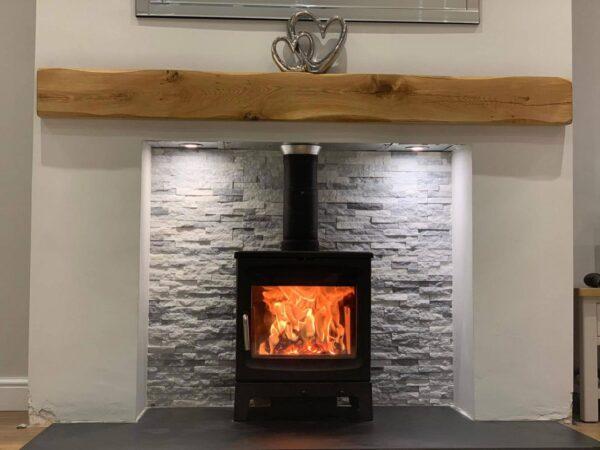 Oak Beam Mantle Above Log Burner Fireplace Floating Shelf