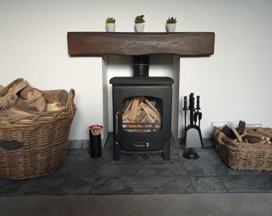 Oak Beam Fireplace Mantel in Black Oil Lightly Worked Finish