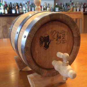 Engraved Oak barrel Keg Drinks Dispenser