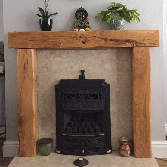 Lightly Worked Oak Beam Fire Surround