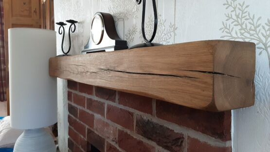 Solid Oak Beam Mantle Fireplace