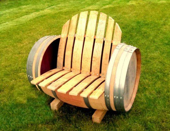 Oak Barrel Seat Bench