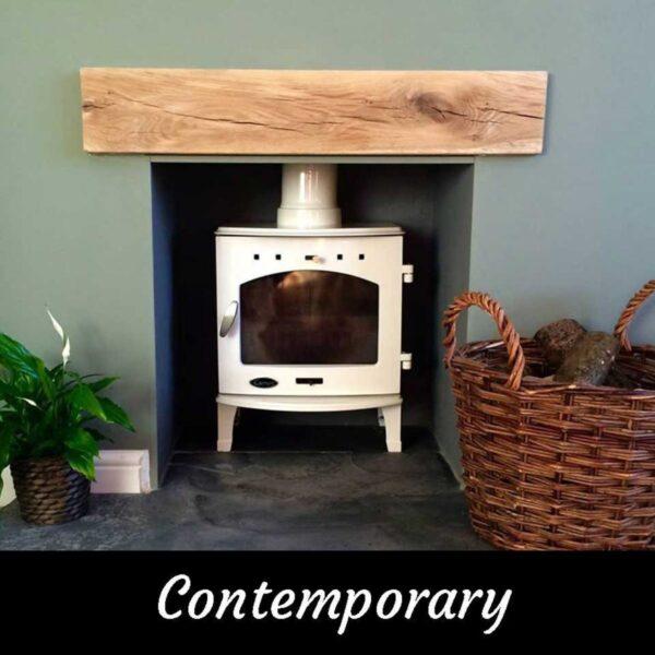 Contemporary Modern Oak Beam Fireplace Mantle