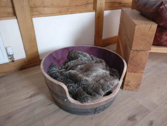 Solid Oak Wine Barrel Dog Bed