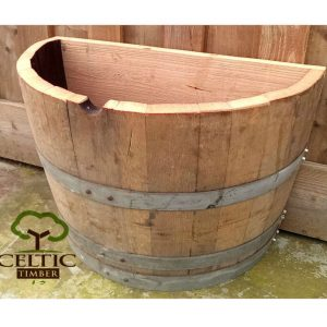 Half Back Oak Barrel Planter