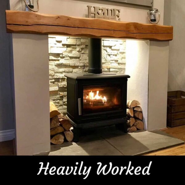 Heavily Worked Rustic Oak Beam Mantelpiece for Fireplace