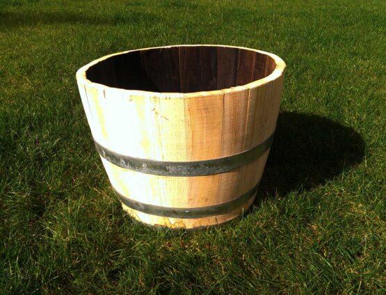 Hardwood Chestnut Half Barrel Planter