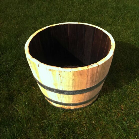 Hardwood Chestnut Half Barrel Planter