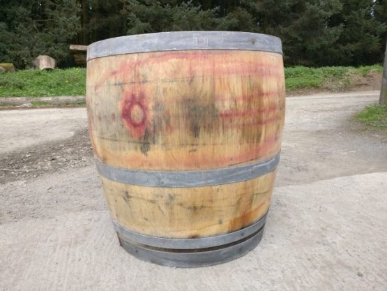 Three quarter wine barrel planter - solid oak
