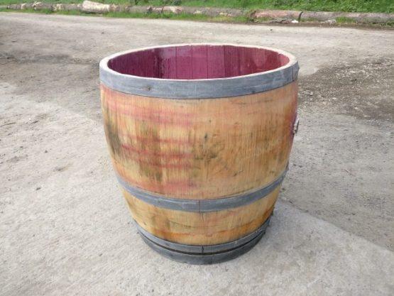 Three quarter wine barrel planter - solid oak
