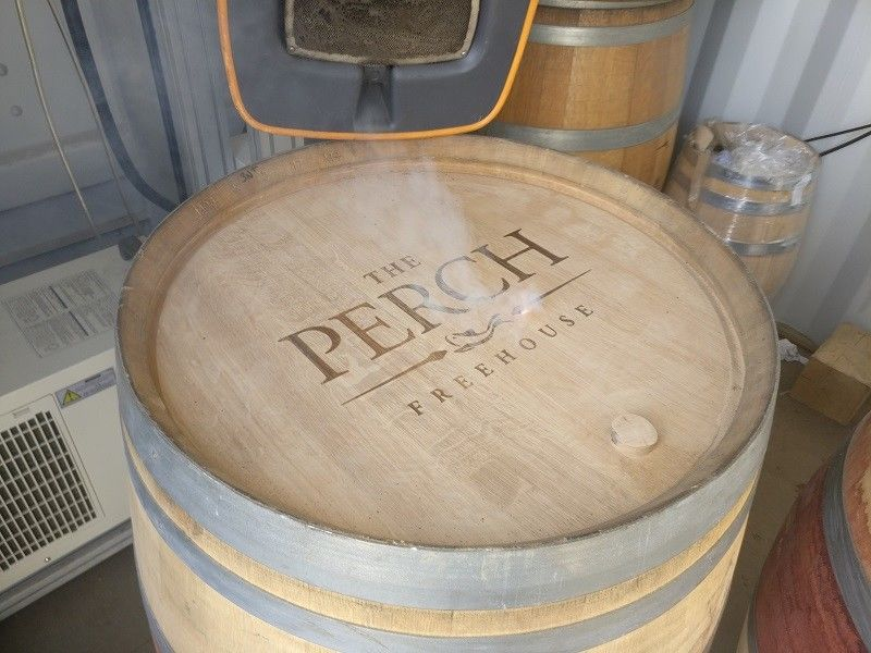 Engraved Wine Barrel with Perch Freehouse Logo