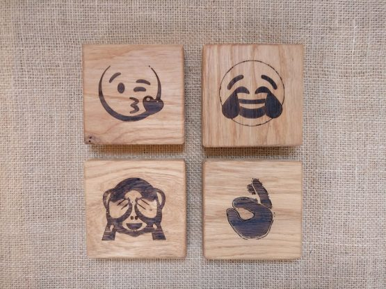 Personalised Engraved Oak Coasters with Emojis Engraved
