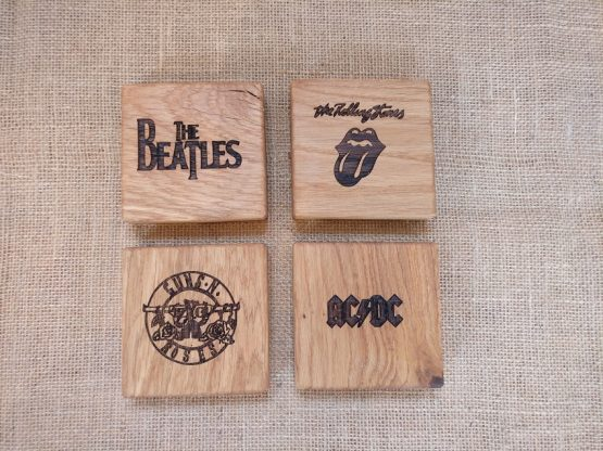 Personalised Engraved Oak Coasters with Classic Rock Band Logos