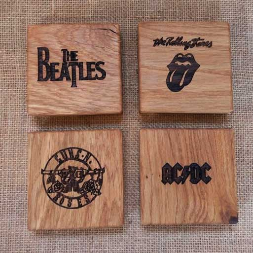 Personalised Engraved Oak Coasters with Classic Rock Bands