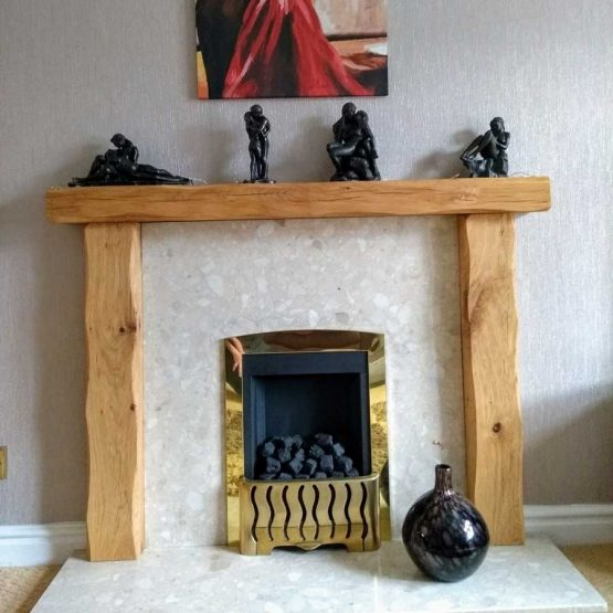 Solid Oak Beam Fireplace Surround - Lightly Worked