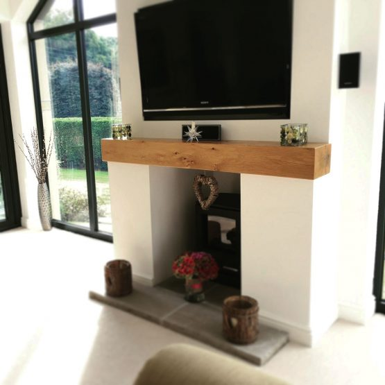Contemporary Finished Oak Beam Fireplace with Pure Oil
