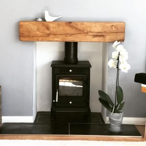 Contemporary Finished Oak Fireplace Beam with Pure Oil in modern Home