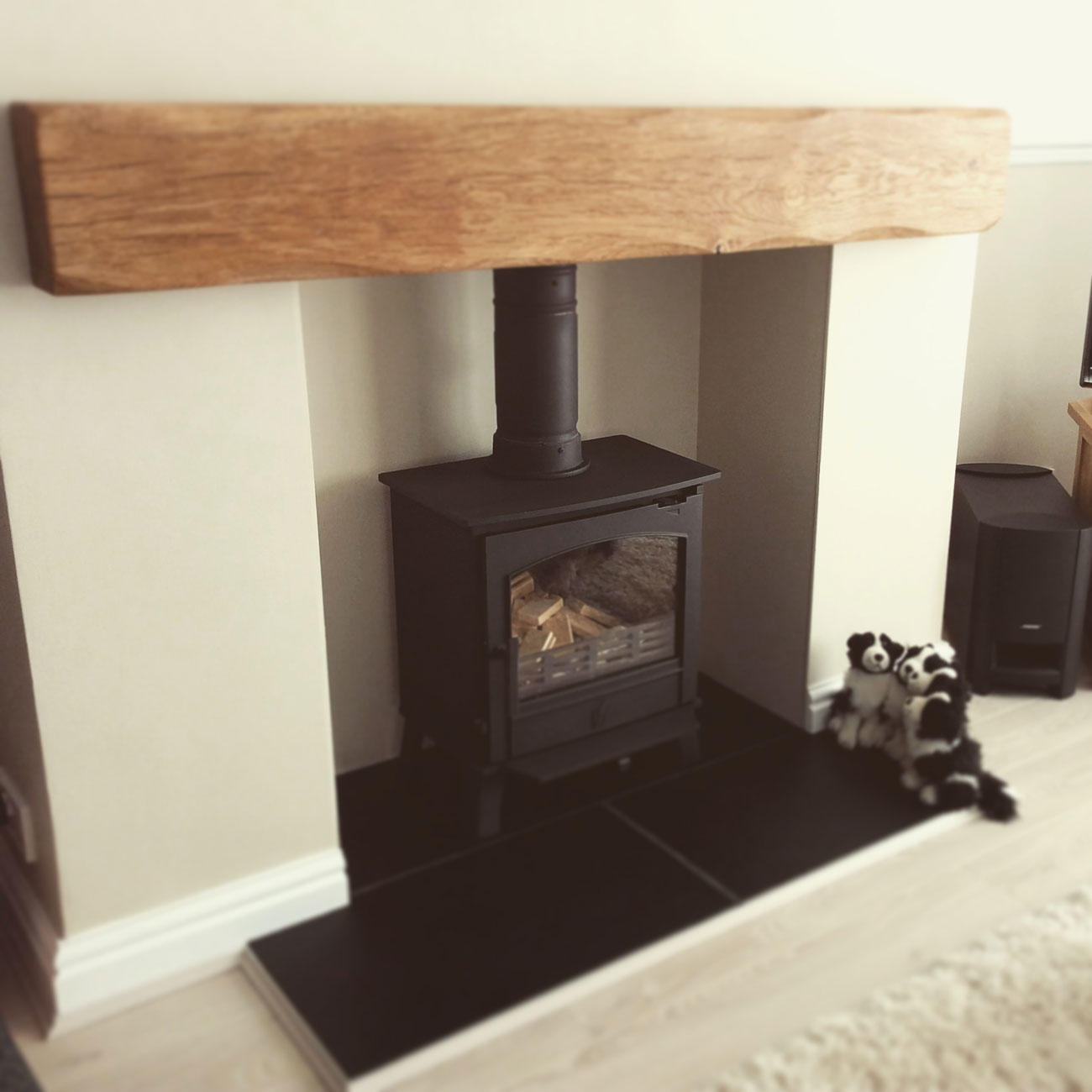 Lightly Worked Oak Mantle Beam - Pure Oil