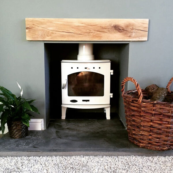 Contemporary Finished Oak Fireplace Beam - Mist Oil