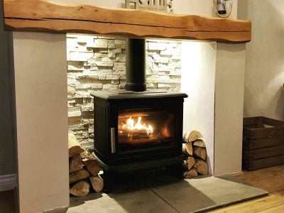 Heavily Worked Oak Mantelpiece Beam - Pure Oil