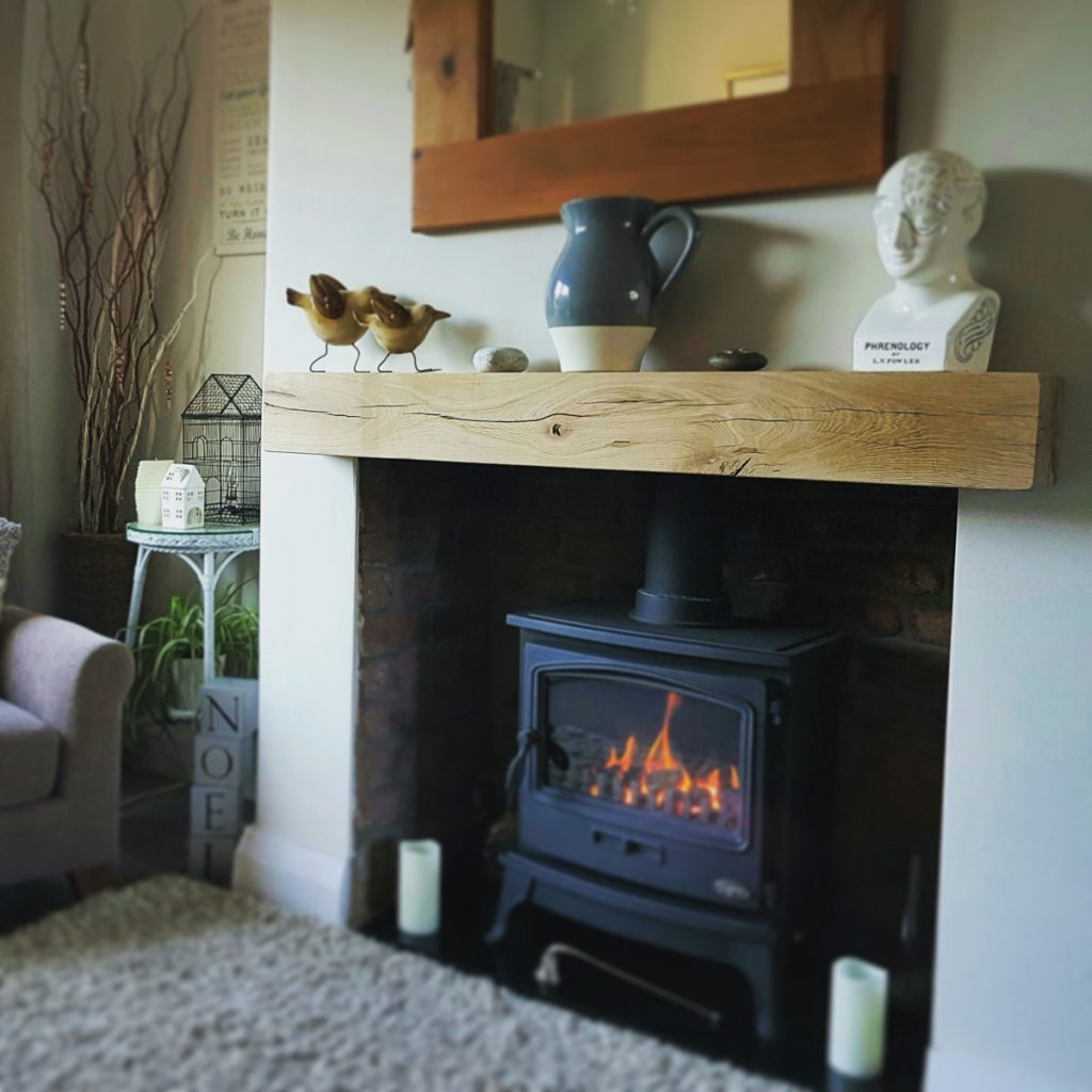 Contemporary Finished Oak Beam with Pure Oil