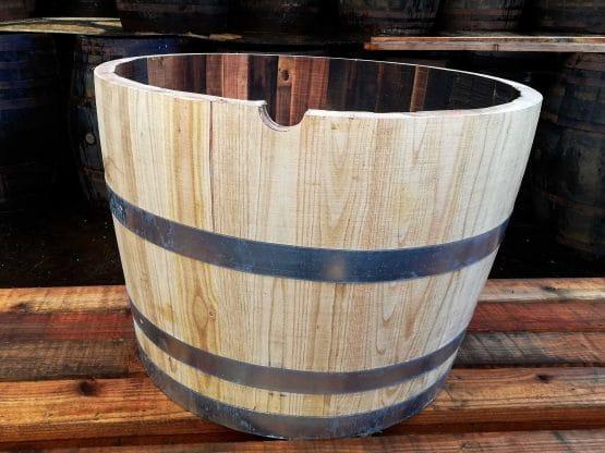 Chestnut New Hardwood Half Barrel Planter