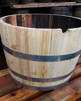 Chestnut New Hardwood Half Barrel Planter