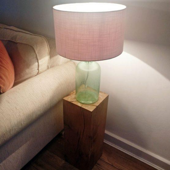 Solid Oak Beam Block Lampstand