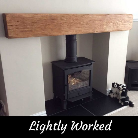 Lightly Worked Rustic Oak Beam Mantle fore Fireplace Log Burner