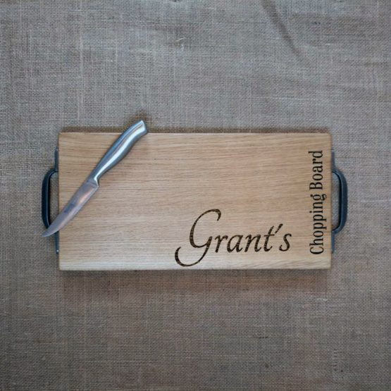Personalised Oak Chopping Board with Name Engraved and Cast Iron Handles