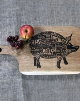 Engraved Oak Chopping Board with Wooden Handle with Pig Meat Cuts Engraved