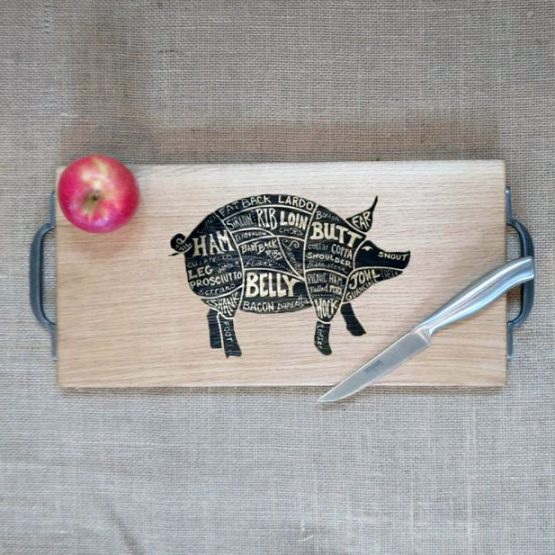 Engraved Oak Chopping Board with Cast Iron Handles with Pig Meat Cuts Engraved