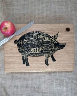 Engraved Oak Chopping Board with No Handle with Pig Meat Cuts Engraved