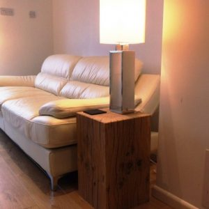 Solid Oak Beam Lamp Stand Table