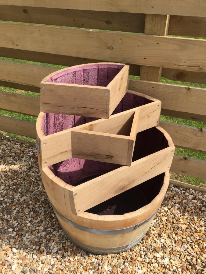 Multi Level Barrel Planter Celtic Timber