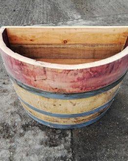Flat Back Wine Barrel Planter