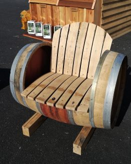 Oak Wine Barrel Seat Armchair