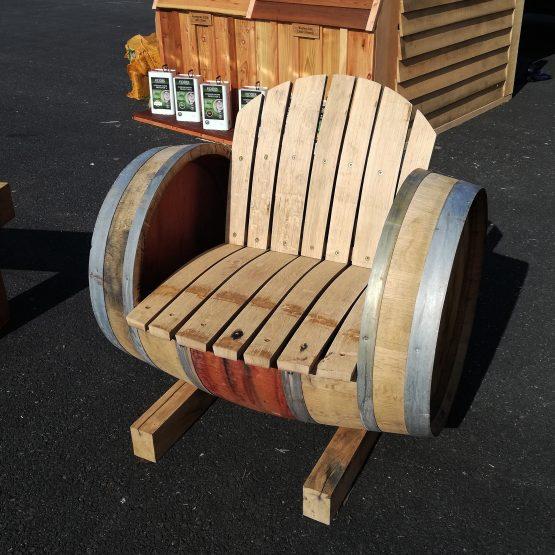 Oak Wine Barrel Seat Armchair