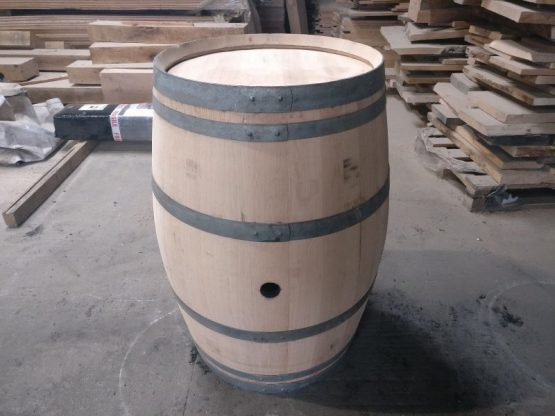 Restored and reclaimed french oak wine barrel sanded
