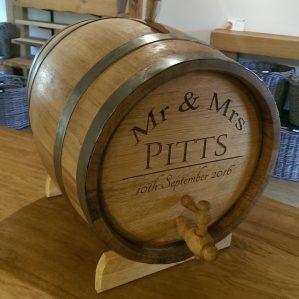 Engraved Oak Barrel Drinks Dispenser