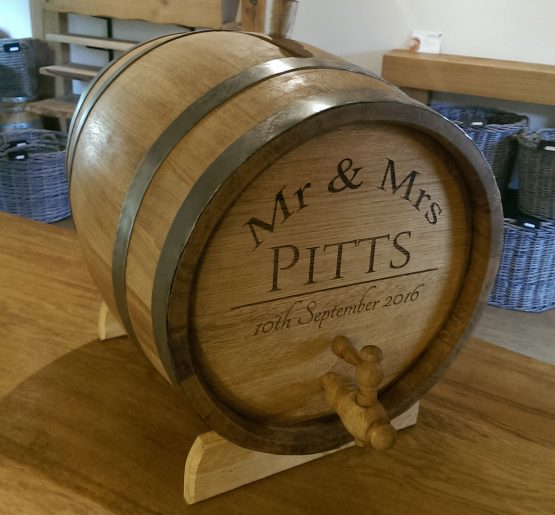 Engraved Oak Barrel Drinks Dispenser