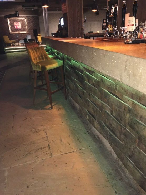 Whiskey Barrel Staves for Interior Wall Bar Cladding
