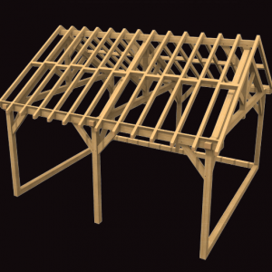 Two Bay Cart Shed Oak Structure Kit