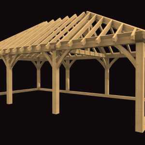 Three Bay Garage with Hip Roof oak Frame Kit