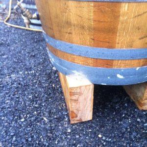 Raised oak blocks for barrel water butt