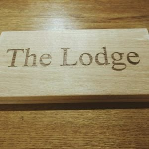 The Lodge Laser Engraved Oak House Name Plaque