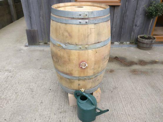 Solid Oak Wine Barrel Water Butt With Downpipe
