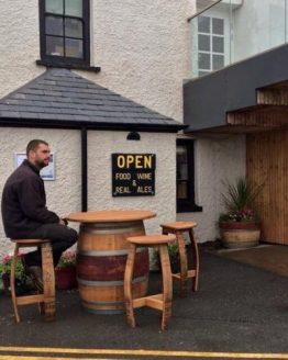 Red Wine Barrel Pub Table with Wine Barrel Bar Stools