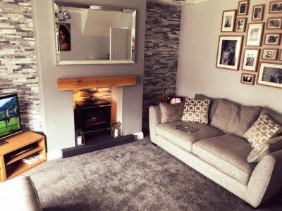 Contemporary Finish Oak Beam in Modern Living Room
